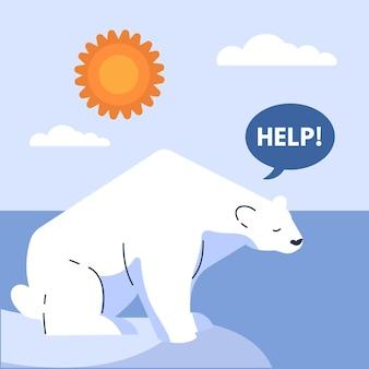 Conceito de mudança climática de design plano com urso polar