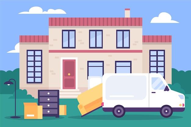 Conceito de mudança de casa ilustrado