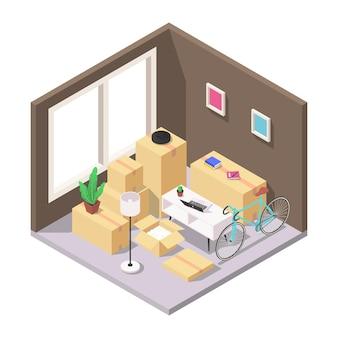 Conceito de mudança para casa. um conjunto de caixas embaladas com móveis, eletrodomésticos e outros utensílios domésticos no quarto. ilustração em vetor isométrica em um fundo branco.