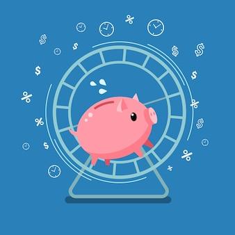 Conceito de muito dinheiro. cofrinho correndo em uma roda de hamster. design plano, ilustração vetorial.