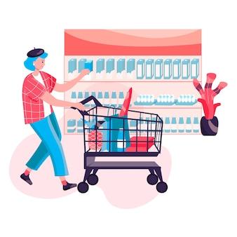 Conceito de mulher de compras. o cliente compra comida e carrega as sacolas de compras no carrinho. comprador andando com o carrinho na cena do personagem de supermercado. ilustração vetorial em design plano com atividades pessoais