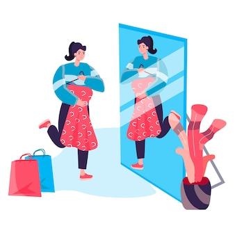 Conceito de mulher de compras. o cliente experimenta o vestido no provador em frente ao espelho, escolhe a cena do personagem de roupa elegante da moda. ilustração vetorial em design plano com atividades pessoais