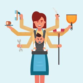 Conceito de multitarefa de mãe