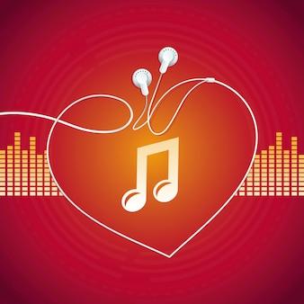 Conceito de música de vetor, forma de coração