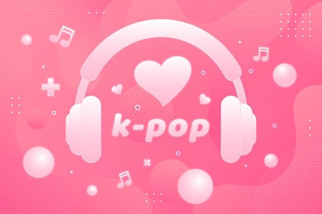Conceito de música k-pop com fones de ouvido