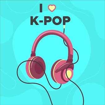 Conceito de música k-pop ilustrado