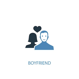 Conceito de namorado 2 ícone colorido. ilustração do elemento azul simples. design de símbolo de conceito de namorado. pode ser usado para ui / ux da web e móvel