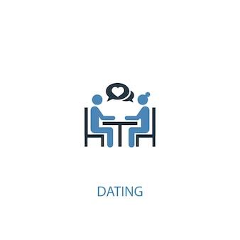 Conceito de namoro 2 ícone colorido. ilustração do elemento azul simples. projeto de símbolo de conceito de namoro. pode ser usado para ui / ux da web e móvel