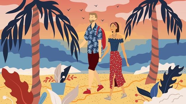 Conceito de namoro. casal apaixonado está andando na costa.