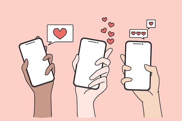Conceito de namoro na internet e chat online