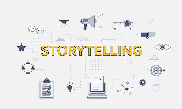 Conceito de narrativa com conjunto de ícones com palavra ou texto grande no centro