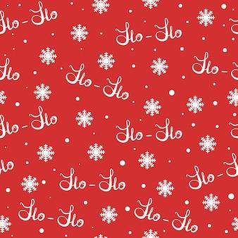 Conceito de natal e ano novo. padrão de hohoho, conceito de papai noel. textura perfeita para o projeto de natal. vector ilustração fundo vermelho branco palavras escritas à mão ho.