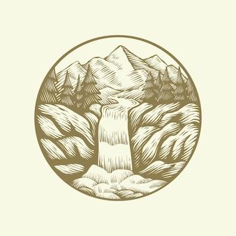 Conceito de natureza vetor vintage paisagem logotipo