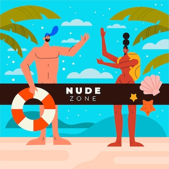 Conceito de naturismo plano ilustrado