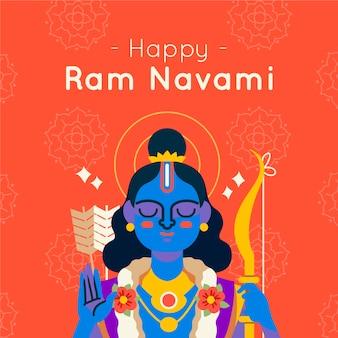 Conceito de navami ram feliz desenhados à mão