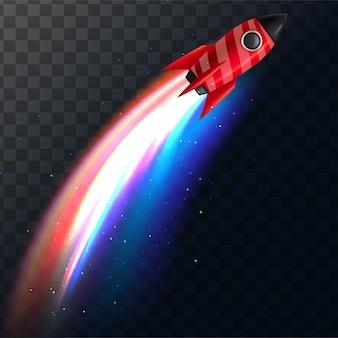 Conceito de nave espacial representado pelo ícone de foguete