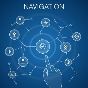 Conceito de navegação, background.location azul, mapa, gps, ícones de direção