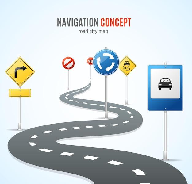 Conceito de navegação. estrada com sinais de tráfego.