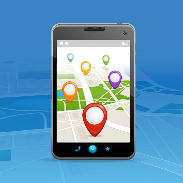 Conceito de navegação. gps em um telefone celular.