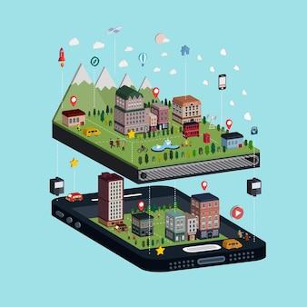 Conceito de navegação infográfico isométrico 3d com adorável cena da cidade