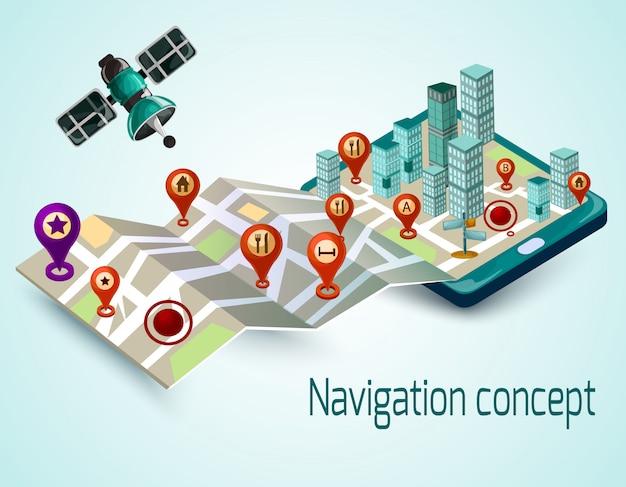 Conceito de navegação móvel