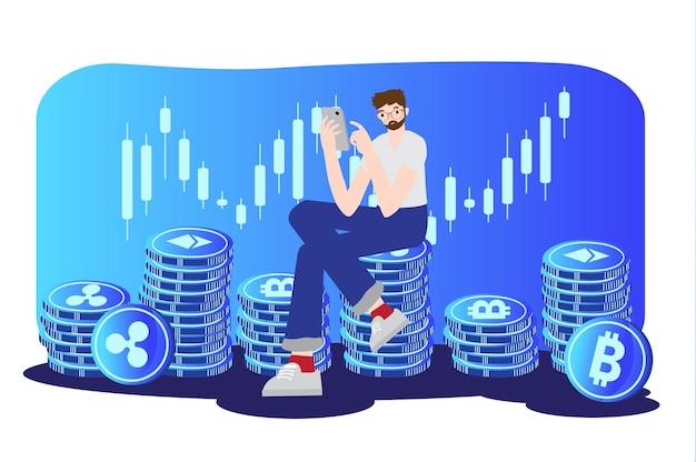 Conceito de negociação de criptomoeda financeiro