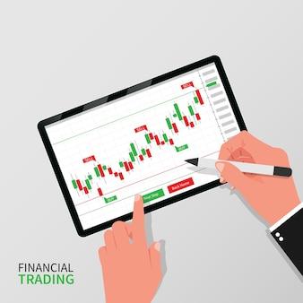 Conceito de negociação financeira. indicador de negociação forex na tela do tablet com as mãos segurando a ilustração da guia da caneta.