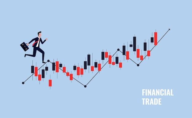 Conceito de negociação financeira, investimento empresarial e ilustração vetorial de mercado de ações