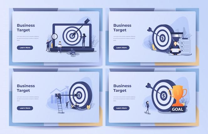 Conceito de negócio, alvo de negócios, objetivo, conquista com ampulheta, pilha de moedas e saco de dinheiro. ilustração