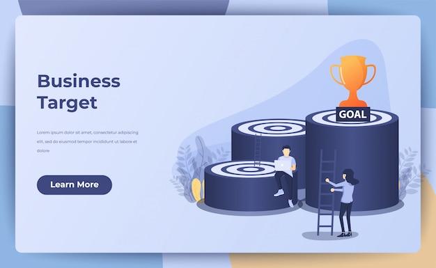 Conceito de negócio, alvo de negócios, objetivo, conquista com pessoas pequenas, escada, troféu. ilustração