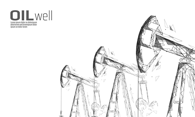 Conceito de negócio baixo poli juck rig rig juck. financiar a produção poligonal de gasolina. derrick de pumpjack da indústria de combustível de petróleo bombeamento ponto de conexão linha ilustração em vetor pontos