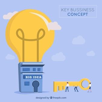 Conceito de negócio chave desenhada de mão