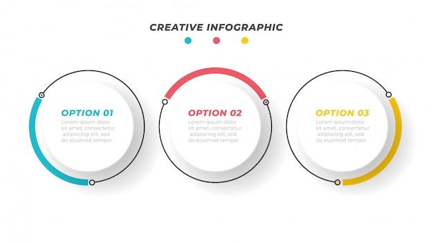 Conceito de negócio com 3 etapas, opções, círculos, linhas. pode ser usado para layout de fluxo de trabalho, diagrama, relatório anual ou apresentação. ilustração.