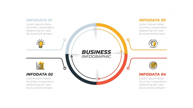Conceito de negócio com 4 etapas, opções. pode ser usado para apresentações, fluxo de trabalho, diagrama, relatório.