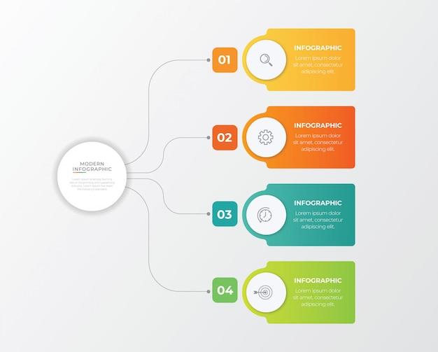 Conceito de negócio com 4 opções, etapas ou processos.