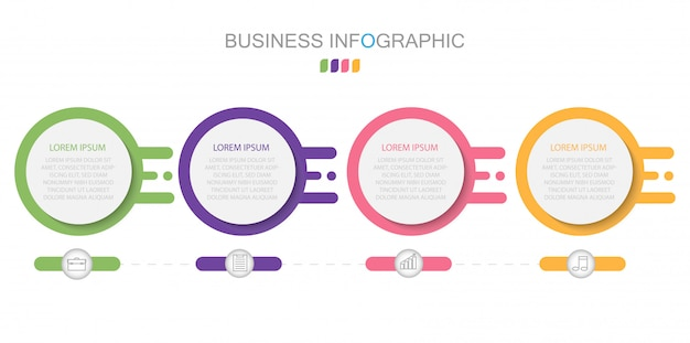Conceito de negócio com 4 opções, etapas ou processos