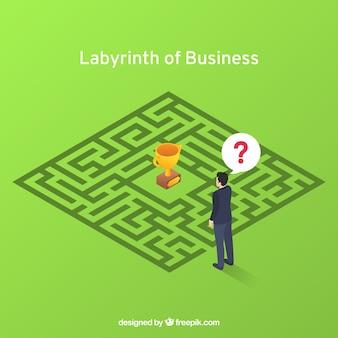 Conceito de negócio com labirinto e trabalhador