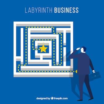 Conceito de negócio com labirinto plana