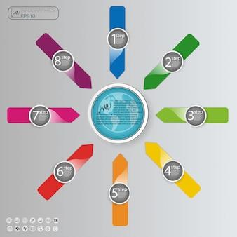 Conceito de negócio com opções, partes, etapas ou processos. modelo gráfico de informação.