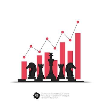 Conceito de negócio com peças de xadrez e ilustração do símbolo de gráficos.