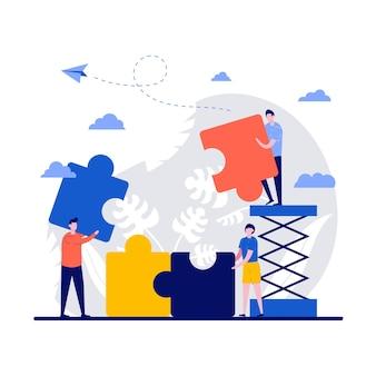 Conceito de negócio com pessoas minúsculas conectando elementos do quebra-cabeça.