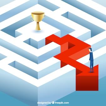 Conceito de negócio com vista isométrica do labirinto