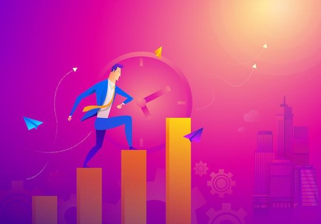 Conceito de negócio como um homem de negócios está sendo executado no gráfico de linha de crescimento.
