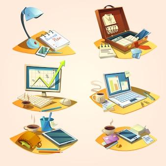 Conceito de negócio conjunto com ícones de trabalho de escritório retrô dos desenhos animados