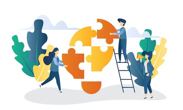 Conceito de negócio construir ideia ilustração plana