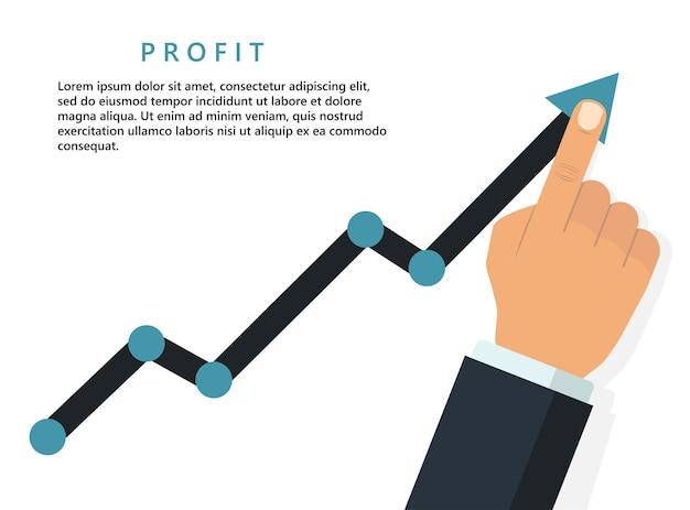 Conceito de negócio crescente de lucro. dedo segurando a seta do gráfico, gráfico de crescimento financeiro