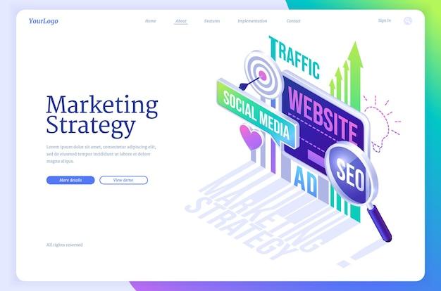 Conceito de negócio da página de destino isométrica de estratégia de marketing