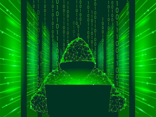 Conceito de negócio de ataque cibernético de segurança na internet baixo poli, hacker anônimo