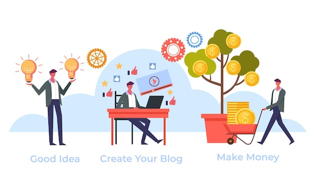 Conceito de negócio de blog na internet online
