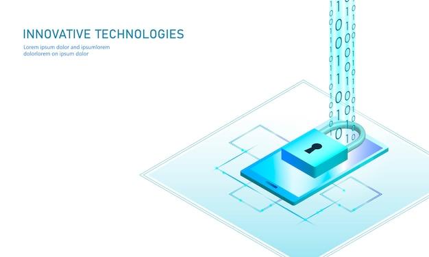 Conceito de negócio de bloqueio de segurança de internet isométrica. azul brilhante informações pessoais isométricas dados conexão pc smartphone futura tecnologia. ilustração 3d infográfico